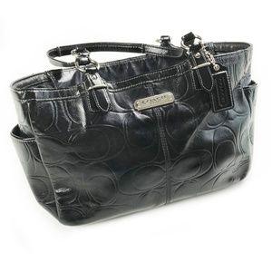 Coach Embossed Black Patent Leather Shoulder Bag